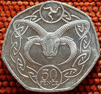 IOM 2018 Manx Slightly Circulated Manx Loaghtan 50p Coin
