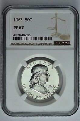 1963 50c Silver Proof Franklin Half Dollar NGC PF 67