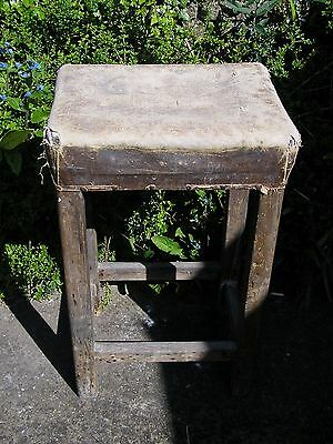 "ANTIQUE OLD RUSTIC HARDWOOD HIGH STOOL UPHOLSTERED 18"" WIDE X 15"" DEEP x 30"" H"