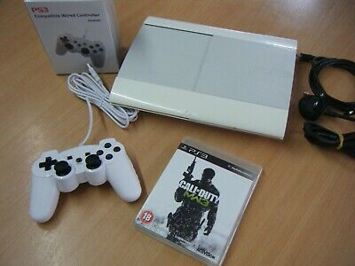 White Sony Playstation 3 Super Slim 500Gb Bundle Console Controller And 1 Game