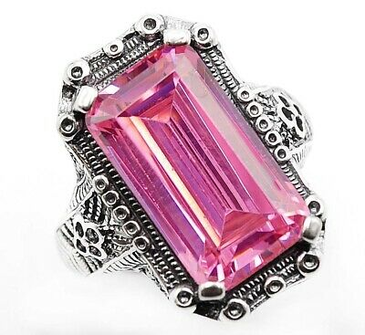 6CT Pink Sapphire 925 Solid Sterling Silver Nouveau Style Ring Jewelry Sz 6, FL4