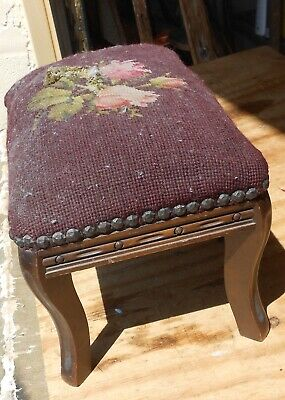 Antique Victorian Americana French Style Small Foot Red Needlework Stool