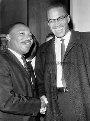 Framed Martin Luther King Meets Malcolm X March 26, 1974 At Capitol Hill Photo