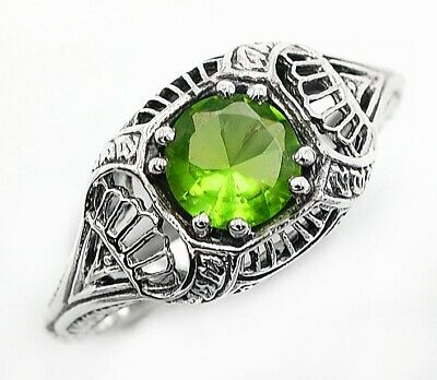 1CT Peridot 925 Solid Sterling Silver Vintage Style Ring Jewelry Sz 6, FL4