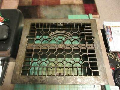 Antique Victorian Cast Iron Floor Grille 12x10 Heat Grate Register with Louvers