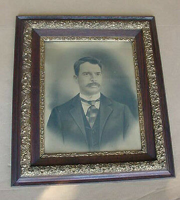 antique vintage large oak and gesso picture frame extra nice rare find