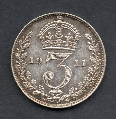 Great Britain, George V, silver  threepence, 1911 coin
