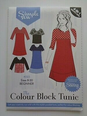 Simple Sew SR25 Pattern Sizes 8-20 The Colour Block Tunic or Dress New