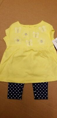 Carters 2 piece girls summer outfit set yellow sleeveless shrt with blue leggins