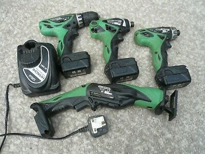 HITACHI 10.8v 4 PIECE SET WITH BATTERIES AND CHARGER