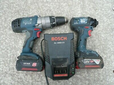Bosch Gsb18Ve-2Li Combi Drill Gdr18-Li Impact  With 2 Batteries And Charger