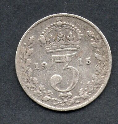 Great Britain, George V, silver  threepence, 1915 coin