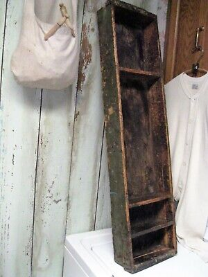 """Antique Primitive Early 36"""" Wood Cubby Shelf Old Dry Green Paint Square Nailed"""
