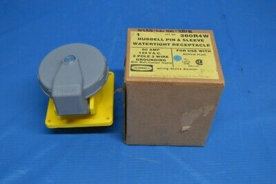 Hubbell HBL360R4W Pin and Sleeve IEC Receptacle, 2 Pole, 3 Wire, 60 amp, 125V