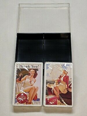 2 Vintage Coca Cola Playing Card Decks In Original Case; Never Used