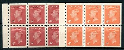 Weeda Canada 287b, 306b VF MNH stapled 4c booklet panes of 6, KGVI issues CV $32