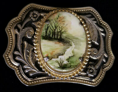 Vintage Ladies Belt Buckle With Hand Painted Porcelain Center (Circa 1980'S)