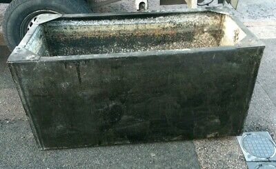 Large Galvanized Steel Water Tank 4ft Long Black 100 gallons garden feature