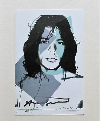 ANDY WARHOL SIGNED - Mick Jagger - 1975 Promotional Art Card #1