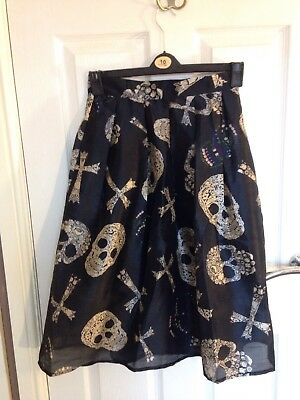 "goth wear Darkside clothing skeleton hands zipped mini skirt size 10=28/"" waist"