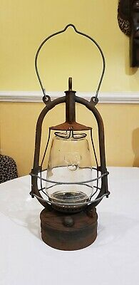 Vintage British 1940s Veritas Pax Paraffin Oil Hurricane Lamp with Clear Glass