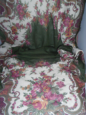 """Vintage scarves various ages and designs No 45 Green/rose multi paisley 45"""" sq"""