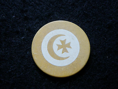 Yellow Antique Crecent Moon Cross Poker Chip Clay Vintage Rare Old Gambling Game