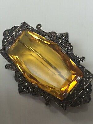 Antique Art Deco 1920s German 935 Sterling Marcasite Pin Brooch w/ Citrine Glass
