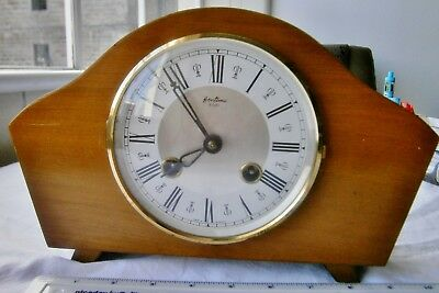 Bentima 8 day chiming mantle clock, 1974. Floating balance movement, VGC