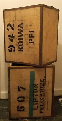 Large Wooden Tea Chest Packing Box Vintage Pre-Owned