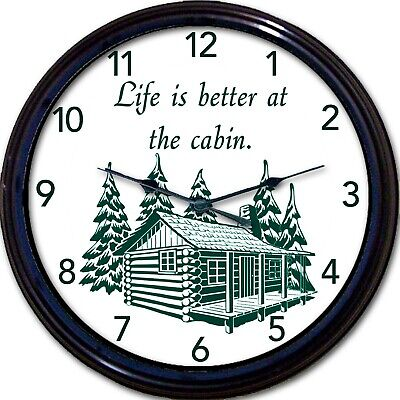 """Cabin Lake Cottage Wall Clock Mountains Lodge Life is Better Vacation New 10"""""""