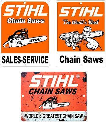 "Lot Of 3 STIHL Chain Saw Vintage Looking Reproduction Aluminum Signs 9"" x 12"""