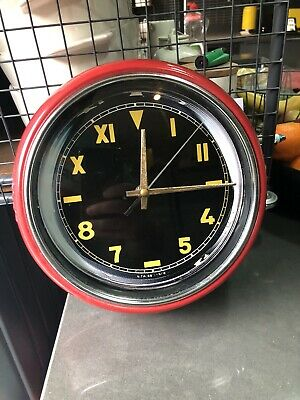 Vintage Industrail Factory Red Yellow Clock