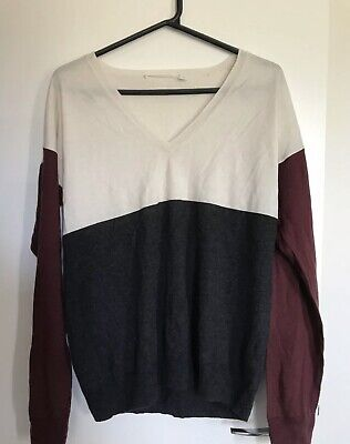 Trenery Knit Jumper Burgundy Grey White Xl 16