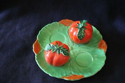 vintage salt pepper shaker set plate tray tomato shakers green red flowers