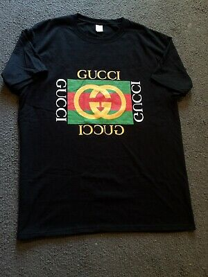 839a251cf75 Late 80 s Early 90 s Vintage Style Bootleg Gucci Black TEE Tshirt Unisex  Large