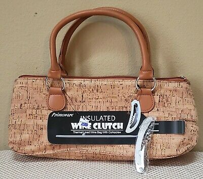 NEW! Primeware Cork and Gold Insulated Wine Clutch Bag Purse with Corkscrew
