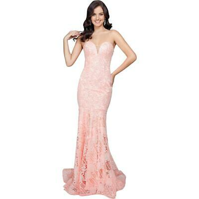 732bcdaa502 Terani Couture Pink Lace Prom Strapless Evening Dress Gown 2 BHFO 4681