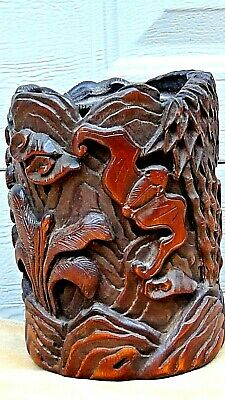 ANTIQUE 19c CHINESE BAMBOO CARVED  BRUSH HOLDER W/RELIEF FLYING BAT & TREE