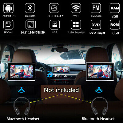 2x 10.1 Inch ANDROID7.1 Car Headrest Rear Seat Monitors Quad-core 2+8GB DVD WIFI