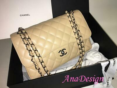 569eb702f8e3cd Chanel Classic Jumbo Beige Caviar Double Flap SHW w/Authenticity Cert