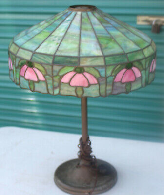 Antique Stained Glass Lampshade Green Flower Dual Light Lamp Tiffany Style Rose