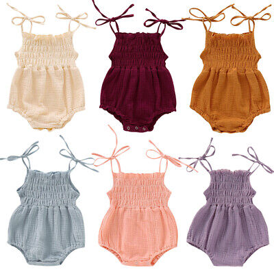 UK Newborn Baby Girls Ruffle Cotton One-Pieces Romper Jumpsuit Outfits Sunsuit