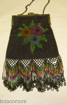 Antique Art Nouveau French Glass Beaded Black Floral Bouquet Fringed Purse Bag