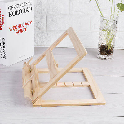 Multifunctional Foldable Wood Book Stand Cookbook Holder Adjustable Reading Rack