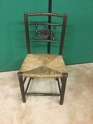 Antique Rush Seated Country Chair Sn-p