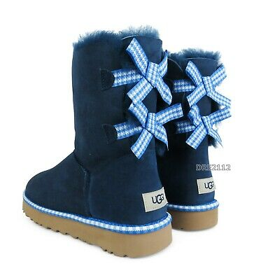 13dcefd6f0f UGG BAILEY BOW II Gingham Navy Blue Suede Fur Boots Womens Size 6 ...