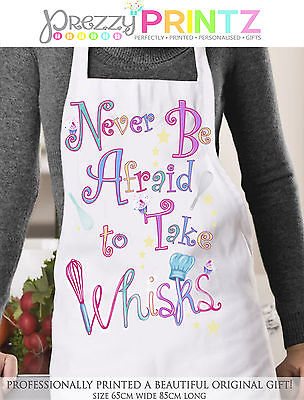 Personalised Gift Apron Ladies Womans Chef Kitchen Whisk Christmas Mothers