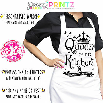 Personalised Apron Ladies Womans Chef Kitchen Queen Of The Kitchen Gift Cook