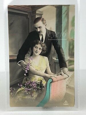 Beautiful Antique / Vintage French Postcard 1915 Photo Hand Coloured /Romantic